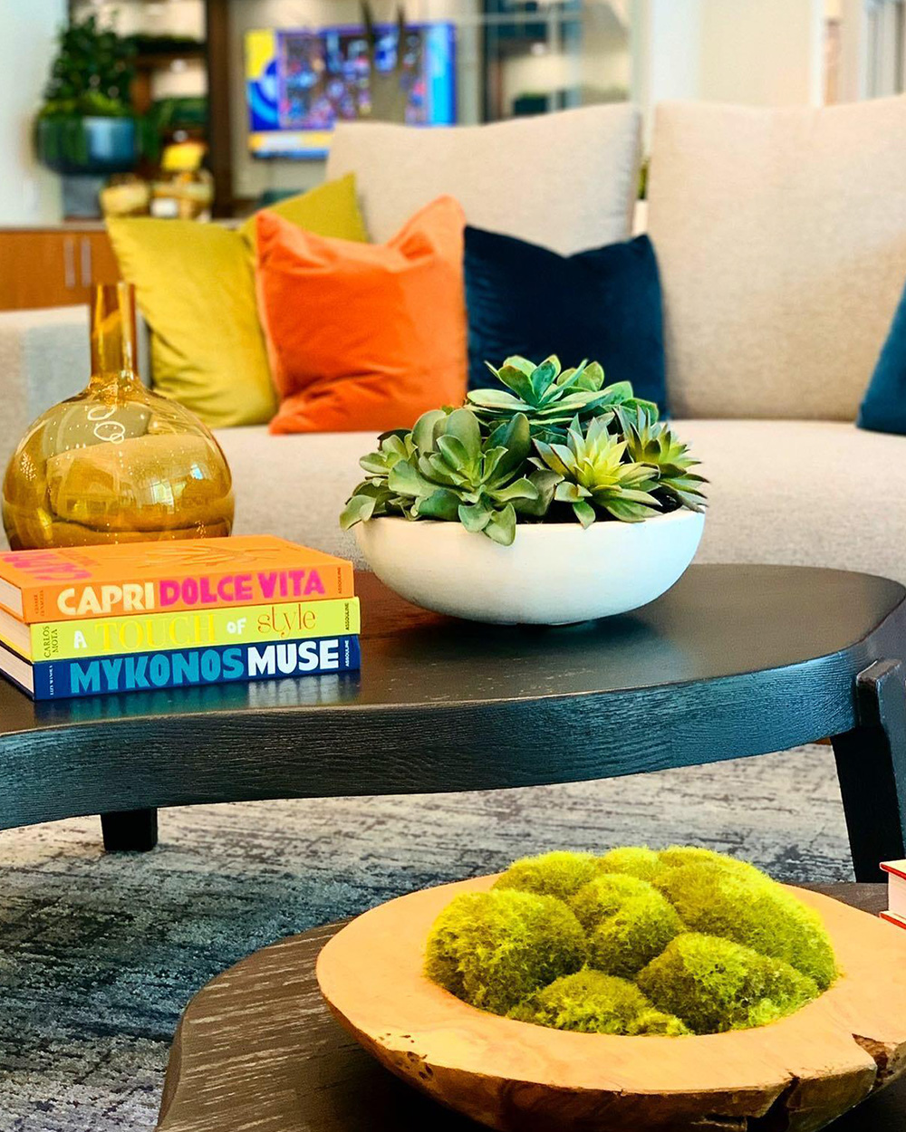 Beautiful plant with coffee table books