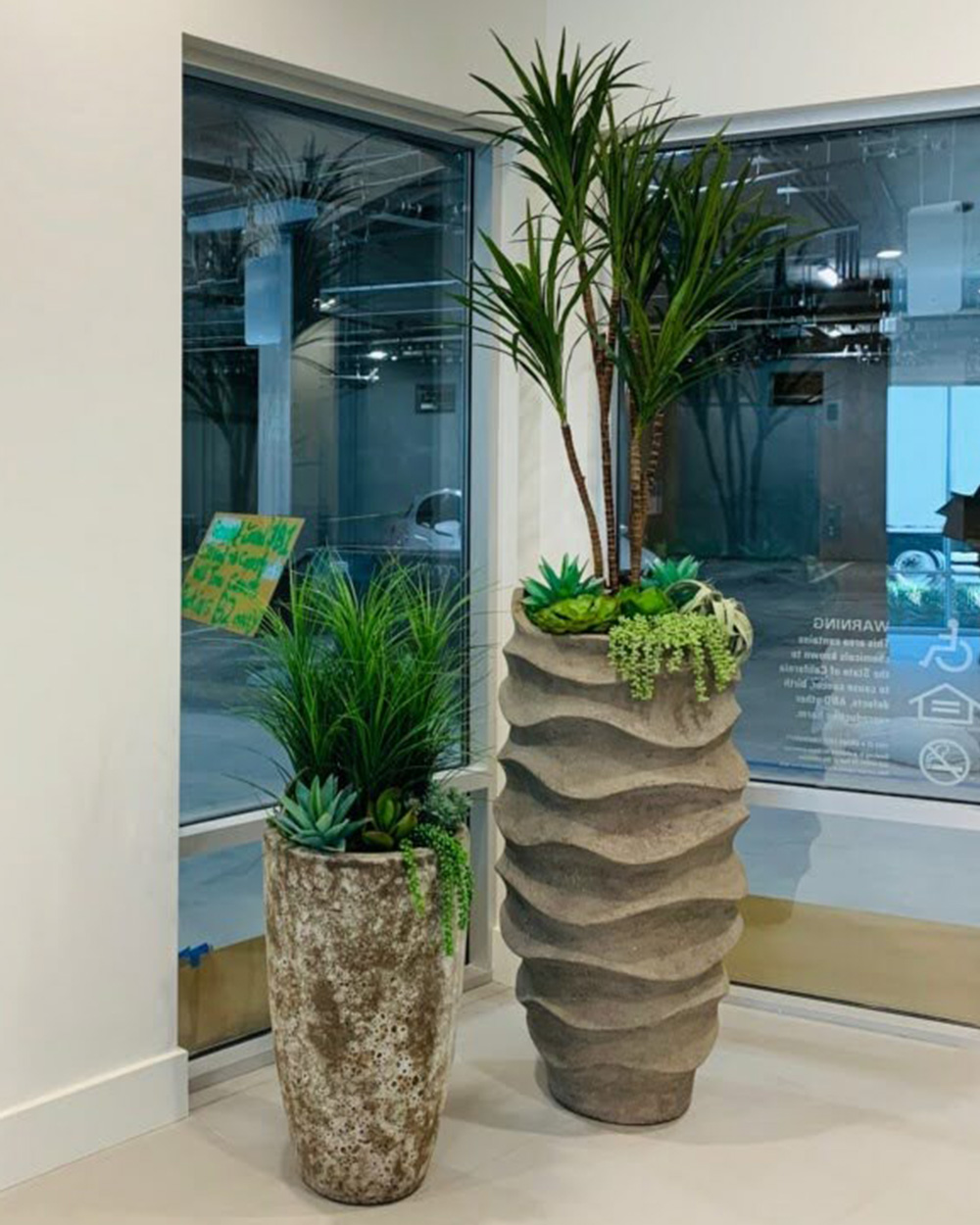 Concrete pots with plants